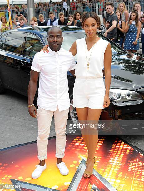Melvin Odoom and Rochelle Humes arrive at The X Factor Auditions at Wembley on July 21 2015 in London England