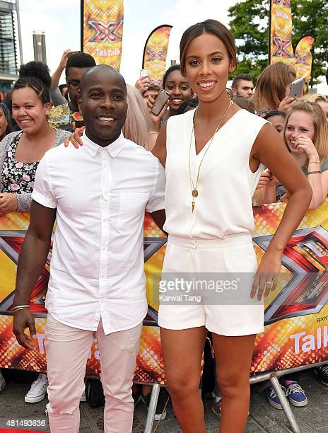 Melvin Odoom and Rochelle Humes attend the London auditions of The X Factor at SSE Arena on July 21 2015 in London England