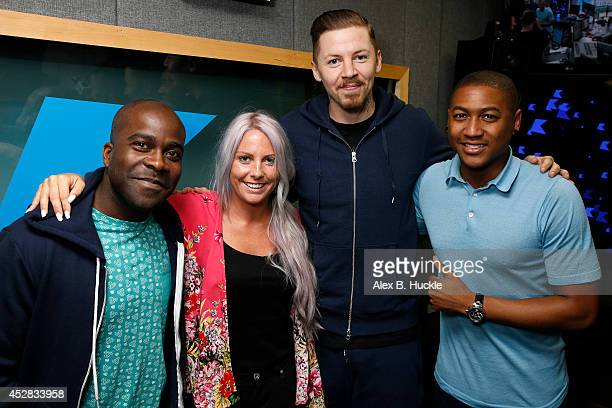 Melvin O'Doom Charlie Hedges Professor Green and Rickie HaywoodWilliams at Kiss FM Studio's on July 28 2014 in London England