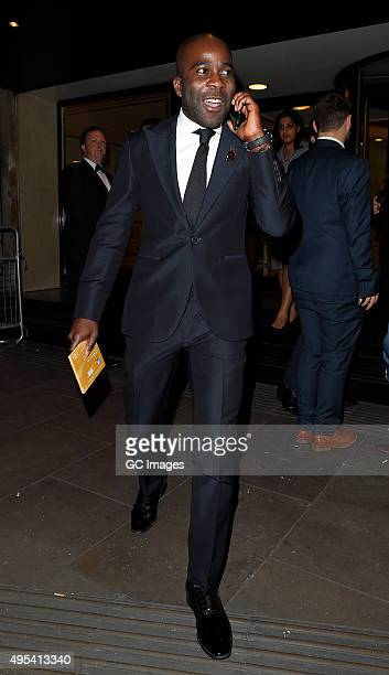 Melvin Odoom leaves Grosvenor Hotel after the Music Industry Trusts Awards on November 2 2015 in London England