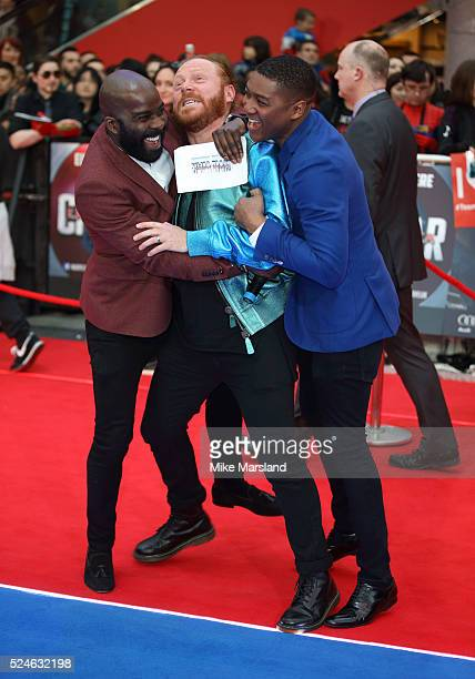 Melvin Odoom Leigh Francis and Rickie Haywood Williams arrive for UK film premiere 'Captain America Civil War' at Vue Westfield on April 26 2016 in...