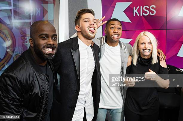 Melvin Odoom Matt Terry Rickie Haywood Williams and Charlie Hedges at Kiss FM Studio's on December 14 2016 in London England
