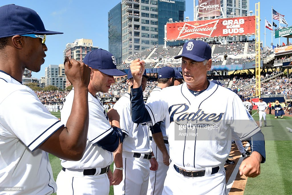 Melvin Upton Jr #2 greets Bud Black of the San Diego Padres prior to the game against the San Francisco Giants at Petco Park on April 9 2015 in San...