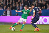 Melvut Erding of AS SaintEtienne and Thiago Silva of PSG in action during the French Cup semifinal match between Paris SaintGermain and AS...