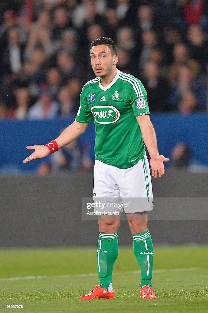 Melvut Erding of AS Saint-Etienne reacts during the French Cup semi-final match between Paris Saint-Germain and AS Saint-Etienne at Parc des Princes on April 8, 2015 in Paris, France.