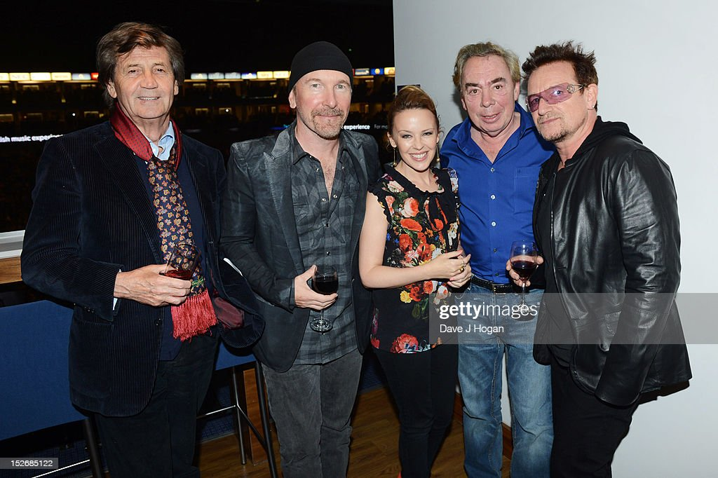 Melvyn Bragg, The Edge, Kylie Minogue, Andrew Lloyd Webber and Bono attend Jesus Christ Superstar, the arena tour at The O2 Arena on September 23, 2012 in London, England.