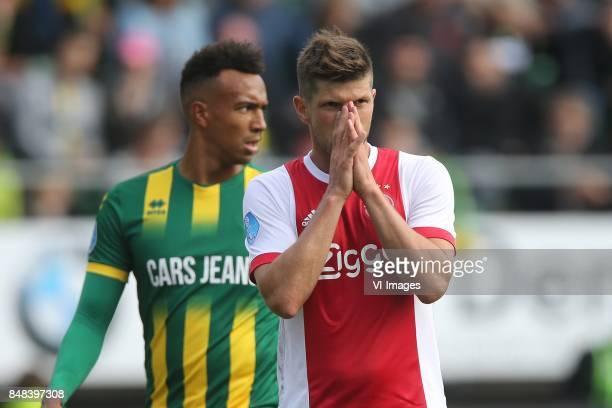 Melvyn Lorenzen of ADO Den Haag Klaas Jan Huntelaar of Ajax during the Dutch Eredivisie match between ADO Den Haag and Ajax Amsterdam at Car Jeans...