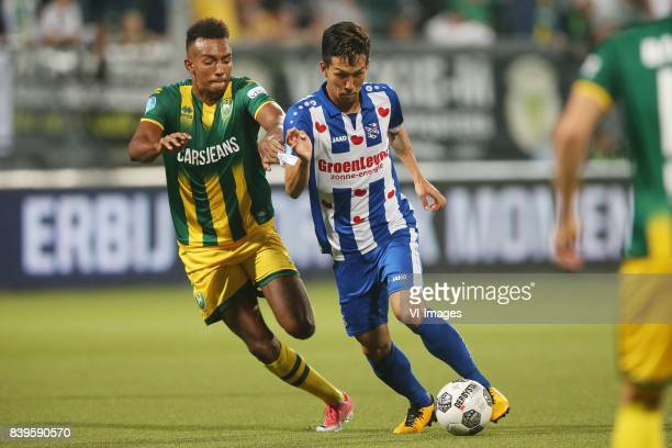 Melvyn Lorenzen of ADO Den Haag Yuki Kobayashi of sc Heerenveen during the Dutch Eredivisie match between ADO Den Haag and sc Heerenveen at Kyocera...