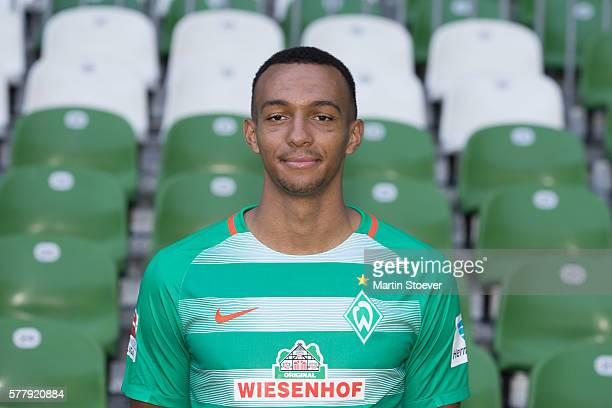 Melvyn Lorenzen poses during the offical team presentation of Werder Bremen on July 20 2016 in Bremen Germany