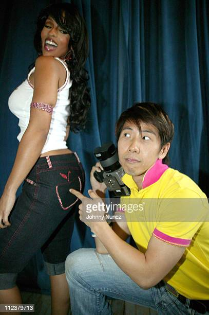 Melyssa Ford and Chiun Kai Shih photographer during Melyssa Ford Photo Shoot for Apple Bottom Jeans at Metropolitan Building in New York City New...