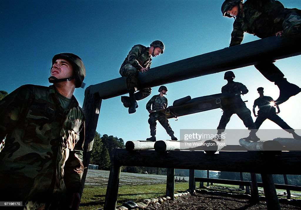ME/marines Jahi Chikwendiu/TWP Kyle Conley left and his Crucible group cross an obstacle course at Marine boot camp on Parris Island SC The Crucible...
