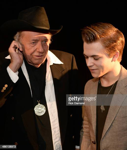 CMHOF member Bobby Bare and Singer/Songwriter Hunter Hayes chat during the 2014 Country Music Hall Of Fame Inductees Announcement at the Country...