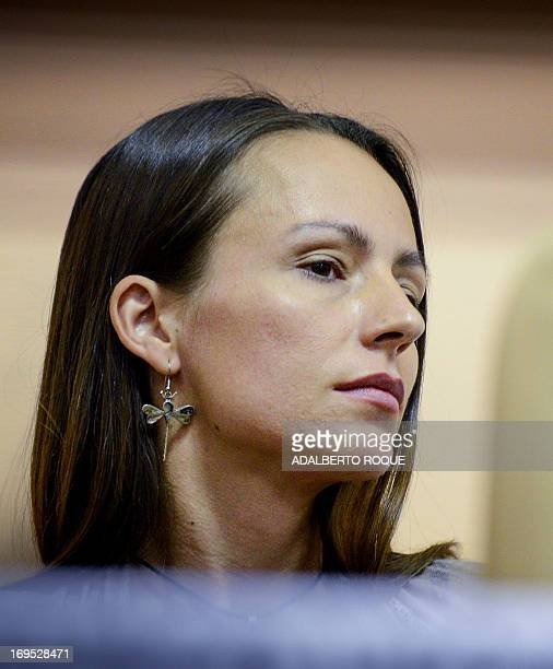 FARC member Dutch Tanja Nijmeijer attends a press conference at Convention Palace in Havana on May 26 2013 following the announcement that both...