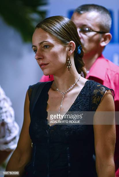 FARC member Dutch Tanja Nijmeijer is pictured at the Convention Palace in Havana upon arrival for a new round of talks with the Colombian government...