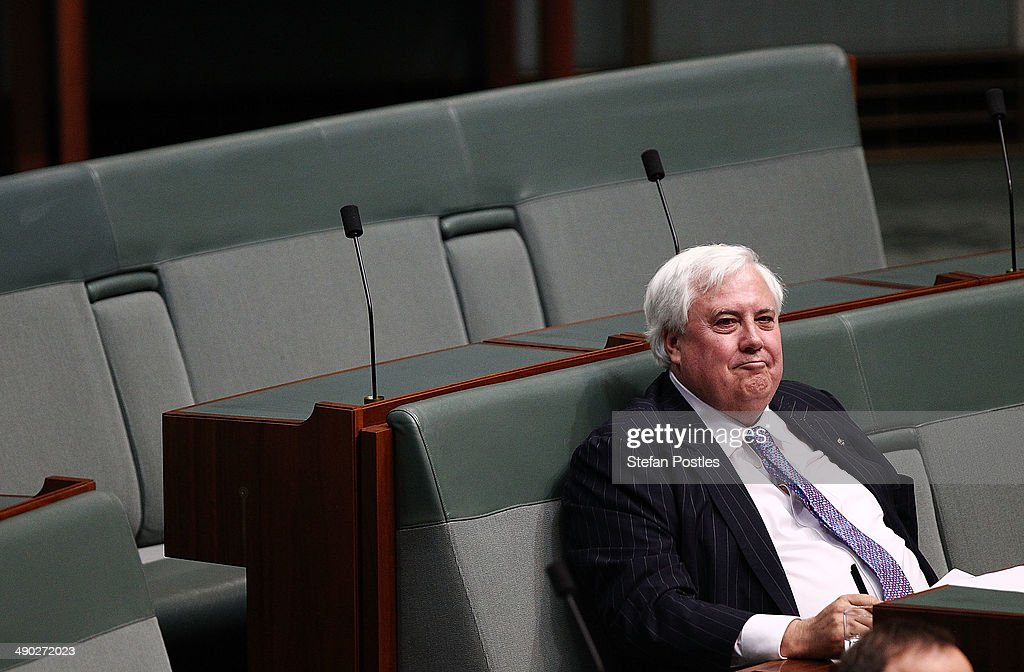 Member for Fairfax <a gi-track='captionPersonalityLinkClicked' href=/galleries/search?phrase=Clive+Palmer&family=editorial&specificpeople=5874044 ng-click='$event.stopPropagation()'>Clive Palmer</a> during House of Representatives question time at Parliament House on May 14, 2014 in Canberra, Australia. Australian Treasurer Joe Hockey last night delivered the federal budget announcing plans to reduce welfare, health and education program spending and increases taxes to bring the deficit down from $AUD 48.9 billion this year to $AUD 2.8 billion by 2017-2018.