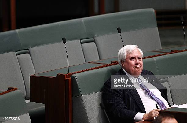 Member for Fairfax Clive Palmer during House of Representatives question time at Parliament House on May 14 2014 in Canberra Australia Australian...