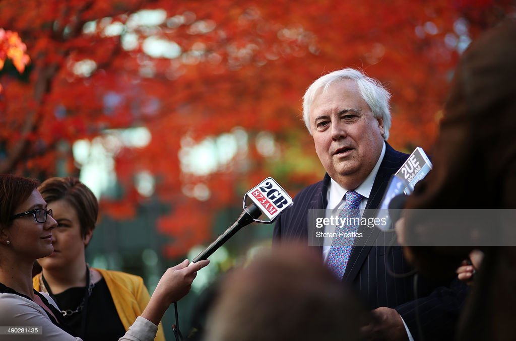 Member for Fairfax <a gi-track='captionPersonalityLinkClicked' href=/galleries/search?phrase=Clive+Palmer&family=editorial&specificpeople=5874044 ng-click='$event.stopPropagation()'>Clive Palmer</a> speaks to the media on May 14, 2014 in Canberra, Australia. Australian Treasurer Joe Hockey last night delivered the federal budget announcing plans to reduce welfare, health and education program spending and increases taxes to bring the deficit down from $AUD 48.9 billion this year to $AUD 2.8 billion by 2017-2018.