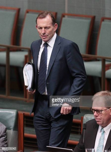 Member for Warringah Tony Abbott during House of Representatives question time at Parliament House on August 17 2017 in Canberra Australia Justice...