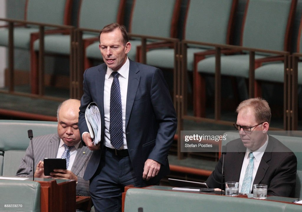 Member for Warringah Tony Abbott during House of Representatives question time at Parliament House on August 17, 2017 in Canberra, Australia. Justice Minister is the latest MP to have questions raised over his possible dual citizenship following revelations on Monday that deputy Prime Minister was a dual Australian and New Zealand citizen. Dual citizenship, which is prohibited for members of Parliament under the constitution, has already forced two Greens senators - Scott Ludlum and Larissa Waters - to quit and Nationals senator Matt Canavan to resign as resources minister.