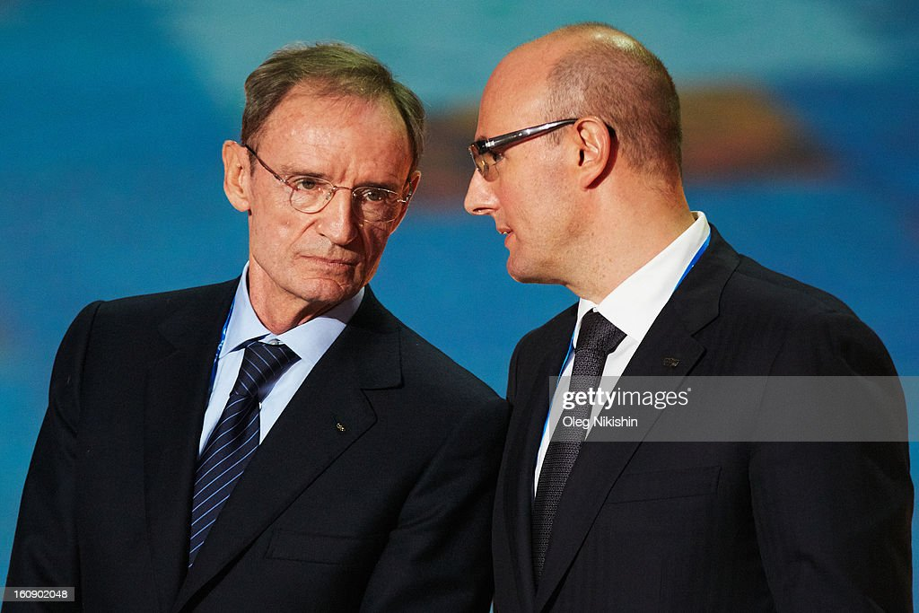 IOC Member <a gi-track='captionPersonalityLinkClicked' href=/galleries/search?phrase=Jean-Claude+Killy&family=editorial&specificpeople=223880 ng-click='$event.stopPropagation()'>Jean-Claude Killy</a> (L) and president, ANO 'Organizing Committee 'Sochi 2014' Dmitry Chernyshenko attend at performance of Sochi 2014 - One Year To Go on Feb.7, 2013 in 'Bolshoi' Ice Dome in Sochi, Russia.