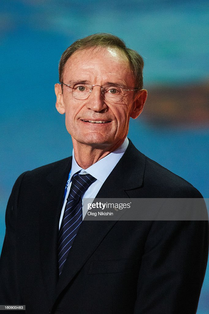 Member <a gi-track='captionPersonalityLinkClicked' href=/galleries/search?phrase=Jean-Claude+Killy&family=editorial&specificpeople=223880 ng-click='$event.stopPropagation()'>Jean-Claude Killy</a> attends at performance of Sochi 2014 - One Year To Go on Feb.7, 2013 in 'Bolshoi' Ice Dome in Sochi, Russia.