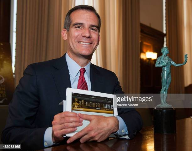 Member Los Angeles Mayor Eric Garcetti is casting his vote For The Upcoming 20th Annual SAG Awards Nominees on January 14 2014 in Hollywood California