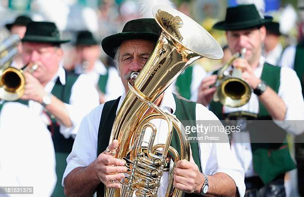 Member of a brass band participate in the opening parade of the Oktoberfest 2013 beer festival at Odeonsplatz on September 22 2013 in Munich Germany...