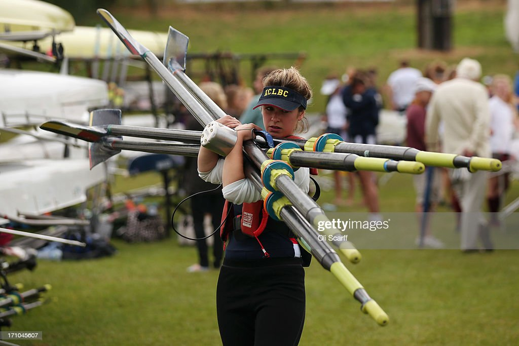 A member of a crew prepares to compete in the time trial discipline of the first day of the Henley Women's Regatta on June 21, 2013 in Henley-on-Thames, England. The annual 3-day event, which has taken place since 1988, sees female crews from the UK and abroad compete on the Henley Royal Regatta course. In the past, several female rowers who have enjoyed success at the Henley Women's Regatta have gone on to win Olympic medals in the sport.