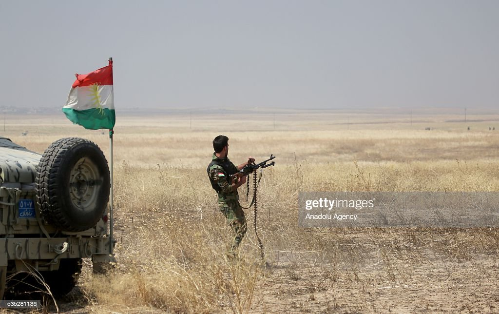 A member of a Peshmerga is seen during an operation against Daesh terrorists in Hazer region Mosul, Iraq on May 29, 2016. Coalition forces support the operation with warcrafts.