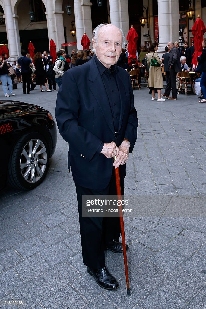 Member of 'Academie francaise' and autor of the Piece, Rene de Obaldia attends 'Du vent dans les branches de Sassafras' Theater Play Live on France 2 TV Chanel. Held at Theatre Edouard VII on June 28, 2016 in Paris, France.