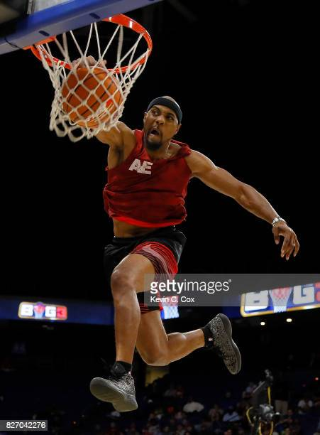 A member of Air Elite Dunkers performs during a break in the action during week seven of the BIG3 three on three basketball league at Rupp Arena on...