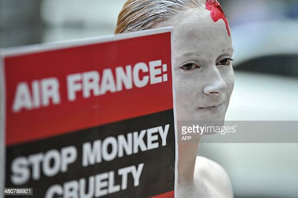 A member of animal rights group People for the Ethical Treament of Animals wearing body paint in order to resemble a bloodied Air France logo holds a...