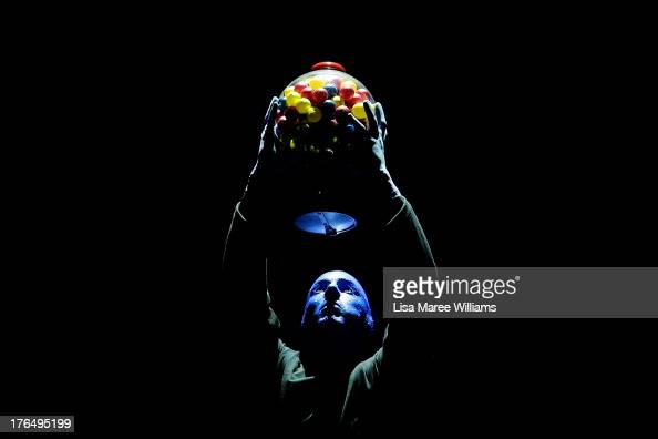 A member of Blue Man Group performs during a media call at Lyric Theatre Star City on August 14 2013 in Sydney Australia Blue Man Group are a...