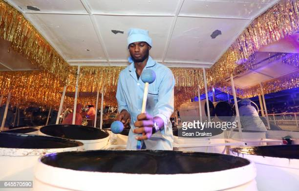 Member of BP Renegades Steel Orchestra performs during the Carnival Finals competition as part of Trinidad Carnival at Queen's Park Savannah on...