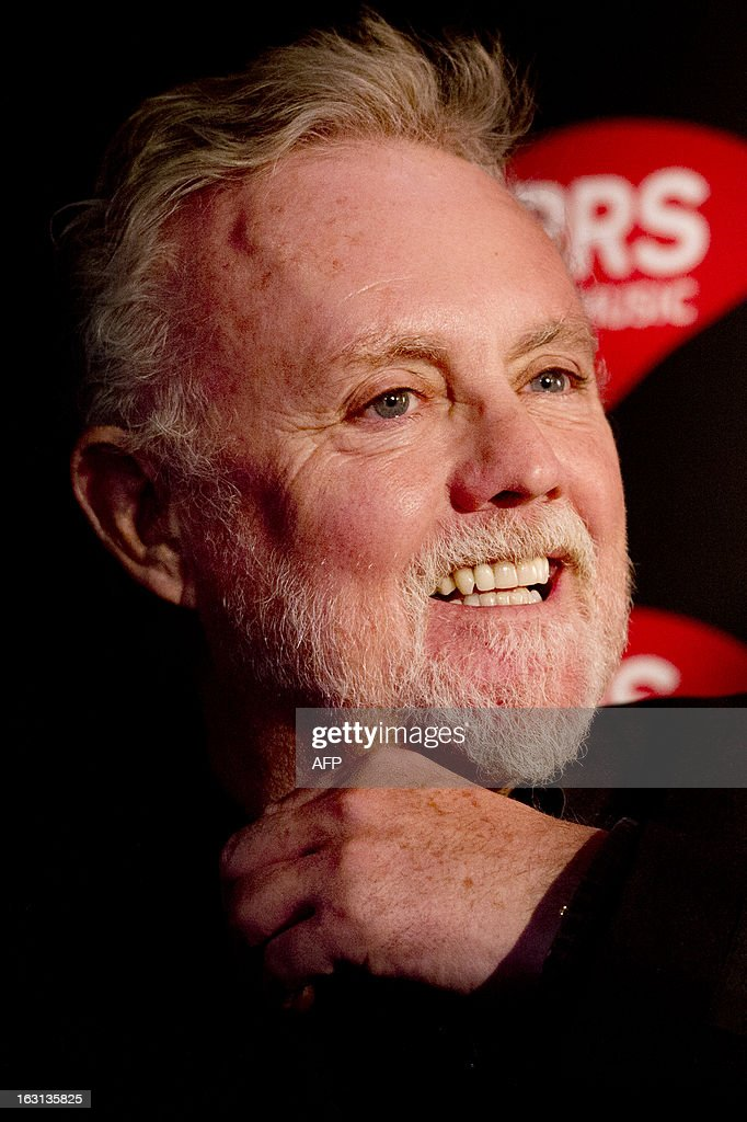 Member of British rock band Queen Roger Taylor attends a ceremony in which Queen were awarded the PRS for Music Heritage Award at Imperial College London in London on March 5, 2013. A plaque was unveiled during the ceremony at the Imperial College London, where Queen played their first public gig in the Student Union on July 18,1970.