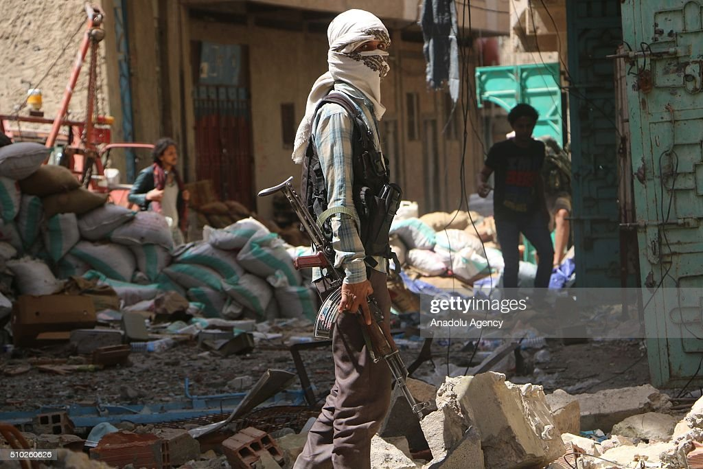 A member of forces loyal to President of Yemen Abd Rabbuh Mansur Hadi is seen after capturing Hasab neighborhood following clashes with Houthis and Yemen's former President, Ali Abdullah Saleh's forces, in Taiz, Yemen on February 14, 2016