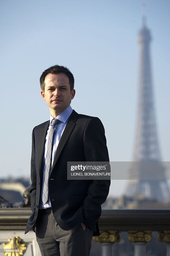 FRENCH - Member of France's right-wing party UMP and Paris' city councillor Pierre-Yves Bournazel poses on the Pont Alexandre III in front of the Eiffel tower in Paris on January 14, 2013. Bournazel officially announced on January 17, 2013 he is running for mayor in Paris in next year's municipal elections. AFP PHOTO / LIONEL BONAVENTURE