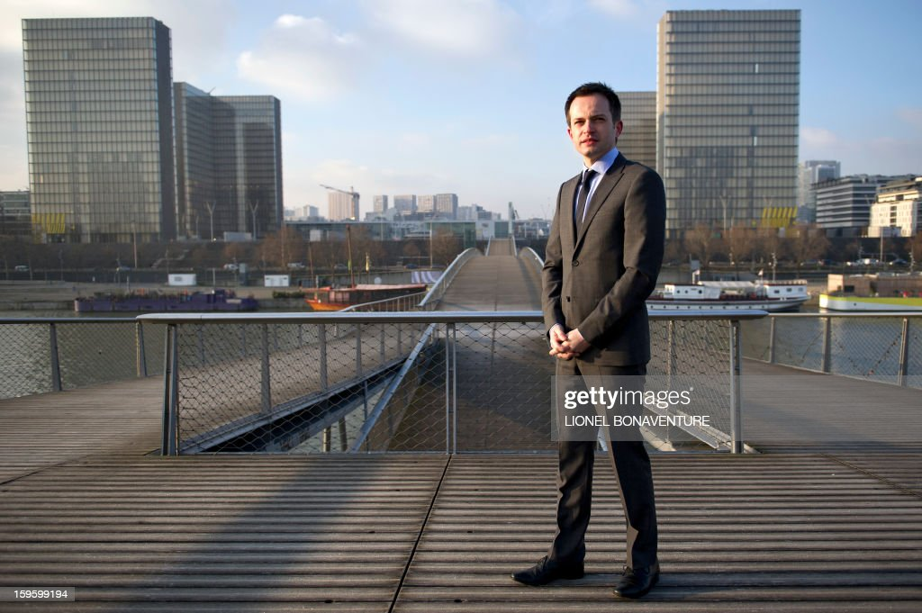 FRENCH - Member of France's right-wing party UMP and Paris' city councillor Pierre-Yves Bournazel poses on on the Simone de Beauvoir bridge in Paris on January 14, 2013. Bournazel officially announced on January 17, 2013 he is running for mayor in Paris in next year's municipal elections.