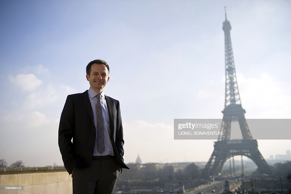 FRENCH - Member of France's right-wing party UMP and Paris' city councillor Pierre-Yves Bournazel poses on the Pont Alexandre III in front of the Eiffel tower in Paris on January 14, 2013. Bournazel officially announced on January 17, 2013 he is running for mayor in Paris in next year's municipal elections.