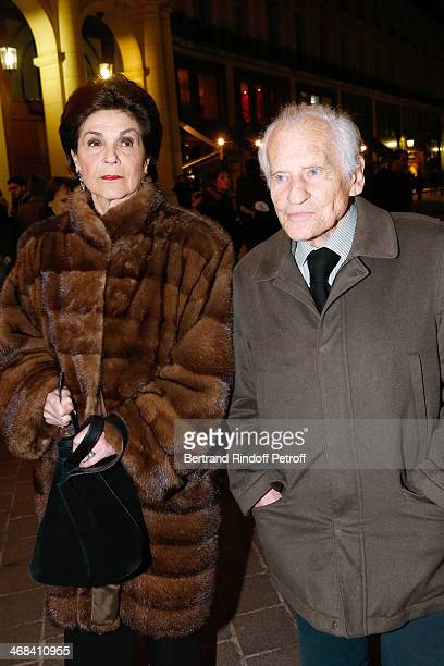 Member of French Academy Jean dOrmesson and his wife attend 'La Porte a Cote' Theater Play premiere Held at Theatre Edouard VII on February 10 2014...