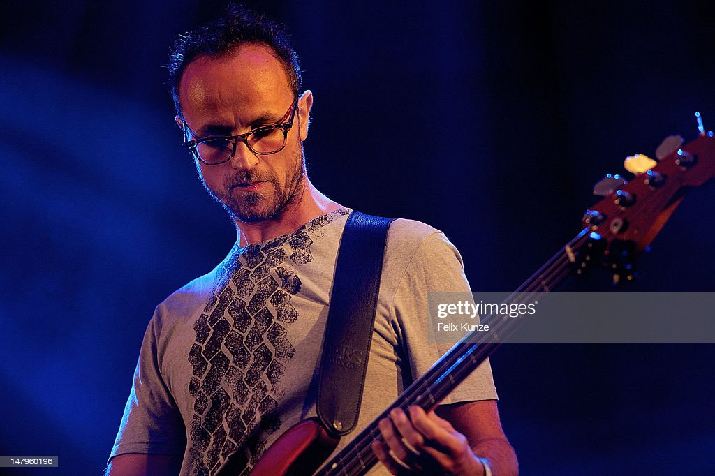A member of German Electronic band Elektro Guzzi performs on stage at the Roskilde Festival 2012 on July 6, 2012 in Roskilde, Denmark.