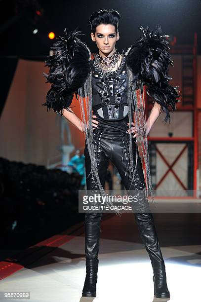 Member of German music band Tokio Hotel Bill Kaulitz displays a creation as part of Dsquared2 FallWinter 20102011 Menswear collection on January 19...