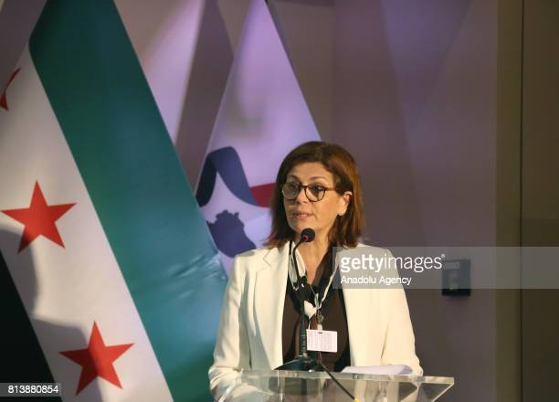 A member of HNC Hind Kabawat speaks during a press conference on Syrian refugees organised by women's commission of High Negotiations Committee...
