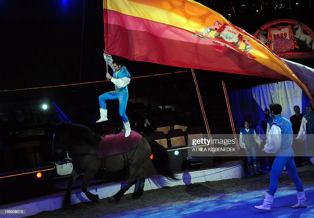 A member of Hungarian acrobat team jumps on a horse with a giant flag of the 'Grand Circus of Budapest' in Budapest on January 11, 2013 during a rehearsal of a new production, title the 'Hungarian circus stars'. The premiere will be held on January 12.