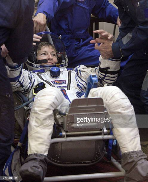 Member of International space crew US Peggy Whitson has space suite checked at the Baikonur cosmodrome in Kazakhstan 10 October 2007 The flight of...