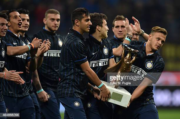 Member of Internazionale Milano Primavera show the Viareggio Trophy during the Serie A match between FC Internazionale Milano and ACF Fiorentina at...