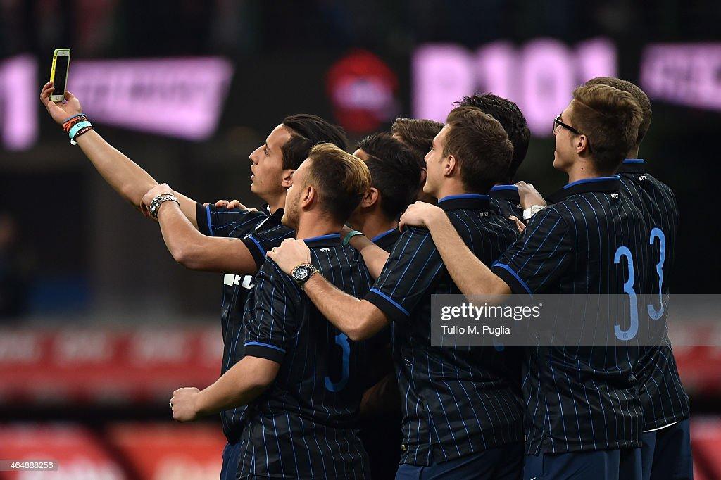 Member of Internazionale Milano Primavera take a selfie during the Serie A match between FC Internazionale Milano and ACF Fiorentina at Stadio...