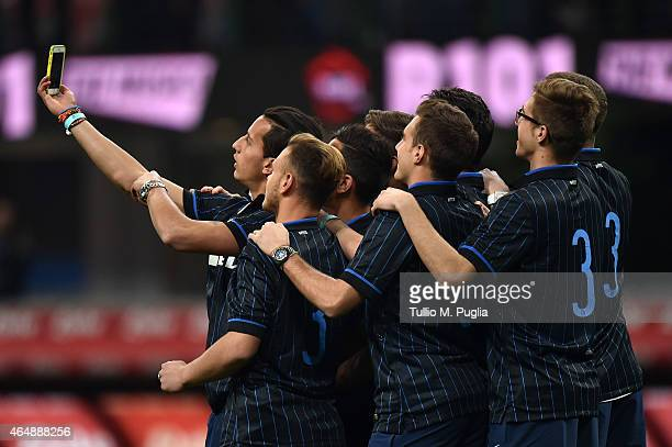 Member of Internazionale Milano Primavera take a selfie during the Serie A match between FC Internazionale Milano and ACF Fiorentina at Stadio...