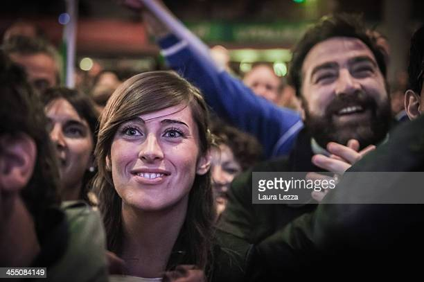 Member of Italian Parliament Maria Elena Boschi and supporters applaud the speech of Mayor of Florence Matteo Renzi during after his election as...