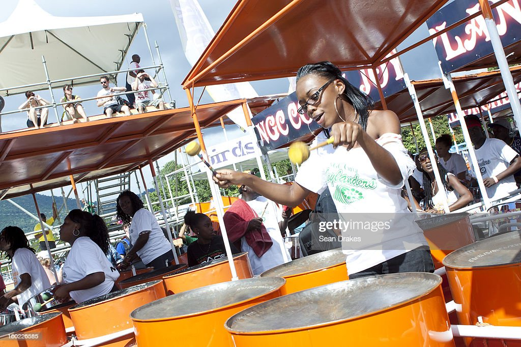 A member of Joylanders steelband practices at Panorama semi-finals at Queen's Park Savannah in Port of Spain, Trinidad and Tobago on January 27, 2013. Carnival in Trinidad and Tobago is the most significant cultural and turist event. Today musical competitions make up a large part of the Carnival, where groups and individuals compete hard to win. Traditionally, musicians use drums, claves, and the steelpan, created in Trinidad and reported to be the only non-electrical instrument invented in the 20th century.